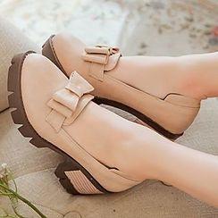 Gizmal Boots - 蝴蝶结粗跟乐福鞋
