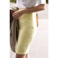 CHERRYKOKO - Zip-Back Pencil Skirt