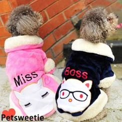 Pet Sweetie - Cartoon Applique Fleece-lined Dog Dress