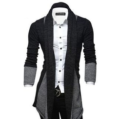 Bay Go Mall - Open-Front Two-Tone Cardigan