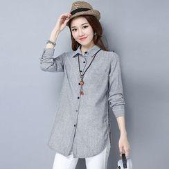 Diosa - 細直條紋長袖襯衫