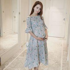The Mommy Club - 孕婦碎花短袖雪紡連衣裙
