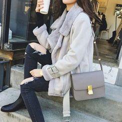 Ashlee - 毛边饰扣摩托外套