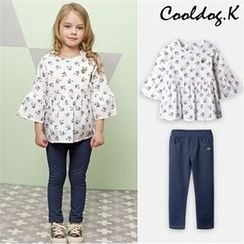WALTON kids - Girls Set: Flower Pattern Top + Pants