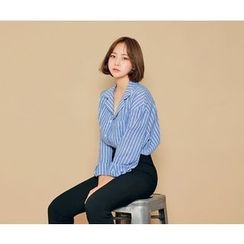 HOTPING - Pocket-Front Striped Cotton Shirt