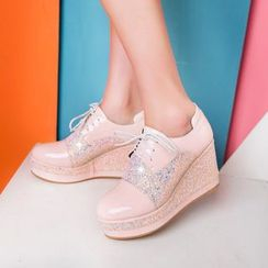 JY Shoes - Glitter Panel Platform Hidden Wedge Oxfords