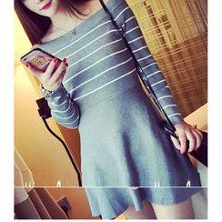 Octavia - Off-shoulder Striped Long Sleeved Knit Dress