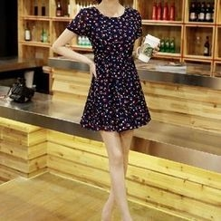 OTTI - Floral Print Short Sleeves Chiffon Dress