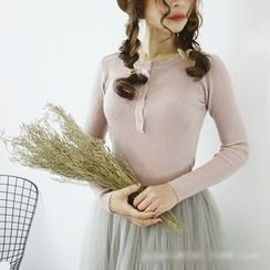 Polaris - Plain Ribbed Knit Top