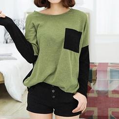 Dream Girl - Colour Block Panel Long-Sleeve T-shirt