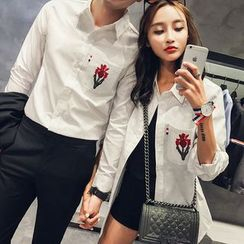 Evolu Fashion - Couple Matching Floral Embroidered Shirt
