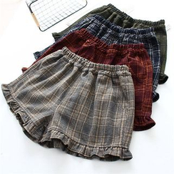 Moricode - Frill Hem Plaid Shorts
