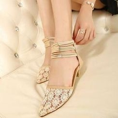 Mancienne - Ankle-Strap Lace Sandals