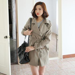 Envy Look - Zip-Up Trench Coat with Sash