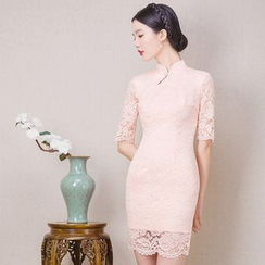 Royal Style - Elbow Sleeve Lace Cheongsam