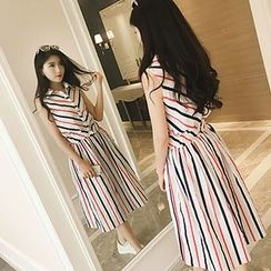 Glen Glam - Set: Stripe Sleeveless Shirt + Stripe Midi Skirt