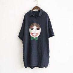 蘭芝 - 卡通印花中袖襯衫裙