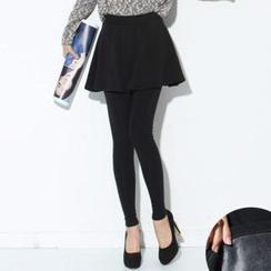Zsel - Brushed Fleece Inset Skirt Leggings