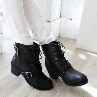 Lane172 - Buckled Lace-Up Ankle Boots