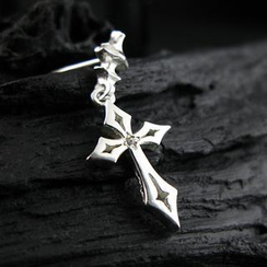 Sterlingworth - White Sapphire Sterling Silver Cross Single Earring