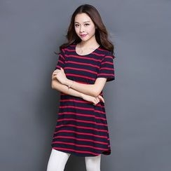Eloqueen - Short-Sleeve Striped T-Shirt Dress