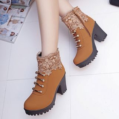 Sunsteps - Platform Block Heel Lace Lace Up Boots