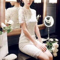 Sherbo - Short-Sleeve Lace Bow-Accent Dress