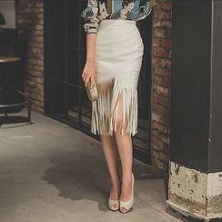 Aurora - Fringed Pencil Skirt