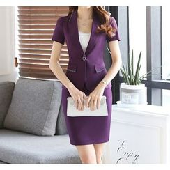 Princess Min - Set: Short-Sleeve Blazer + Pencil Skirt