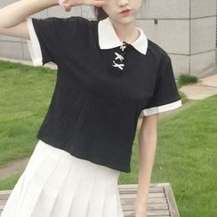 Anlay - Silm-Fit Bow Color-Block Short Sleeve Polo Shirt