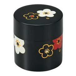 Hakoya - Hakoya Tea Caddy Small Hanamonyou Ume Black