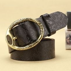 LONGMA - Embossed Genuine Leather Belt