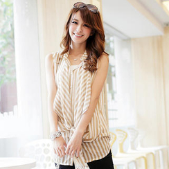 Tokyo Fashion - Striped Sleeveless Blouse