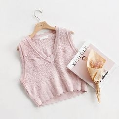 NIPONJJUYA - Sleeveless Wool Blend Cable-Knit Top