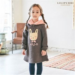 LILIPURRI - Girls Fleece Hooded Rabbit Print Dress