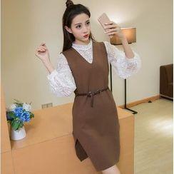 Sienne - Set: Sleeveless Knit Dress + Lace Top