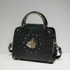 Axixi - Embellished Metal Handle Handbag