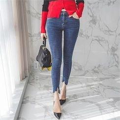 ERANZI - Cutout-Hem Washed Skinny Jeans