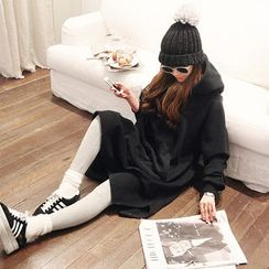 NANING9 - Hooded Brushed-Fleece Pullover Dress