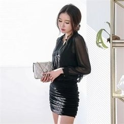 JVLLY - Inset Sheer Blouse Sleeveless Dress