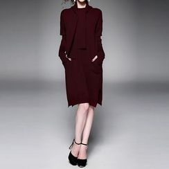 Alaroo - Set: Inset Scarf Short-Sleeve Knit Dress + Arm Warmers