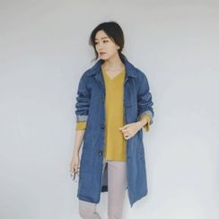 JUSTONE - Collared Button-Down Denim Coat