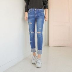 Seoul Fashion - Distressed Roll-Up Jeans