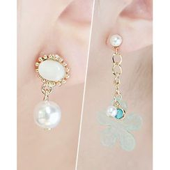 Miss21 Korea - Flower Faux-Pearl Drop Earrings