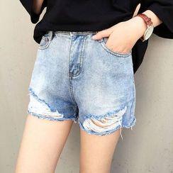 Mayflower - Distressed High Waist Denim Shorts
