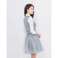GUMZZI - Inset Knit Vest Tulle Dress