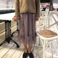 Alfie - 网纱下摆拼接金丝绒半身裙
