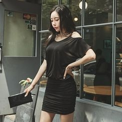 UUZONE - Off-Shoulder Shirred Mini Bodycon Dress