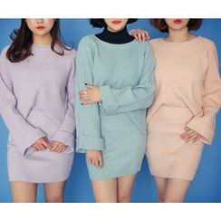 HOTPING - Set: Round-Neck Ribbed Knit Top + Band-Waist Skirt