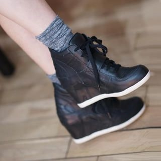 45SEVEN - Genuine-Leather Lace-Up Hidden Heel Sneakers